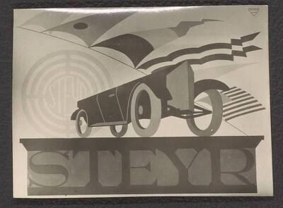 Fotografie einer Reklame für Steyr Automobil