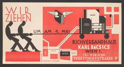 Umzugasanzeige des Buchversandhauses Karl Bacsics in Wien
