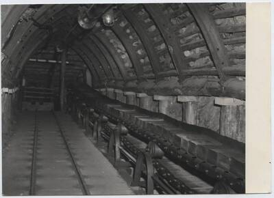 Fotografie eines Details einer Ausstellung über den Bergbau im Technischen Nationalmuseum in Prag (vom Bearbeiter vergebener Titel)
