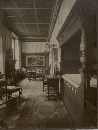 Fotografie des Schlafzimmers im Stadthaus Kranz, Wien IX., Lichtensteinstraße 53-55 (vom Bearbeiter vergebener Titel)