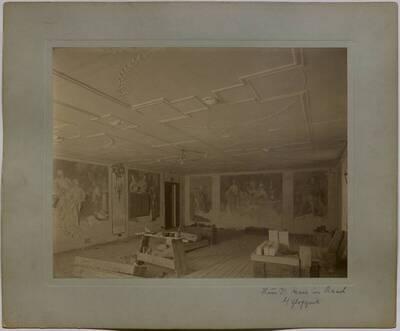 Fotografie eines im Umbau begriffenen Salons in der Villa Kranz in Raach bei Gloggnitz (vom Bearbeiter vergebener Titel)