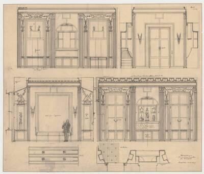 Entwurf für ein Zimmer eines Sammlers für Budapest. Kommissiom Kramer Plan No. 1309 (vom Bearbeiter vergebener Titel)