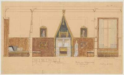 Einrichtungsplan für die Inneneinrichtung der Nische eines Wohnzimmers für den Kunstsammler Kramer in Budapest (vom Bearbeiter vergebener Titel)