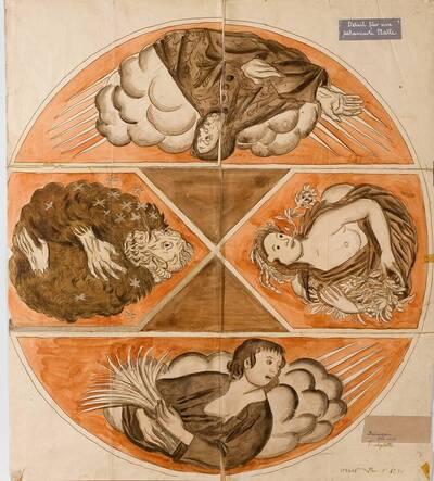 Entwurf für eine intarsierte Tischplatte mit allegorischen Darstellungen der vier Jahreszeiten (Klapptisch), entworfen für den Baron Schönberger in Hinterbrühl (vom Bearbeiter vergebener Titel)