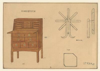 Entwurf für einen Schreibtisch mit Beschlägen (vom Bearbeiter vergebener Titel)