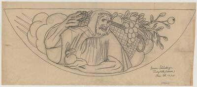 Entwurf für eine intarsierte Tischplatte mit einer Jahreszeiten-Allegorie für den Baron Schönberger in Hinterbrühl (Klapptisch) (vom Bearbeiter vergebener Titel)