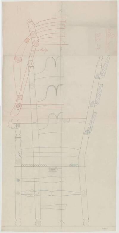 Detailplan mit mehreren Ansichten eines hölzernen Armlehnsessels mit gepolsterter und lederbespannter Sitzfläche, sowie Ziernieten (vom Bearbeiter vergebener Titel)