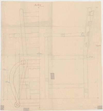 Detailplan mit verschiedenen Ansichten eines einfachen Armlehnsessels mit geflochtener Gurten-Bespannung (vom Bearbeiter vergebener Titel)
