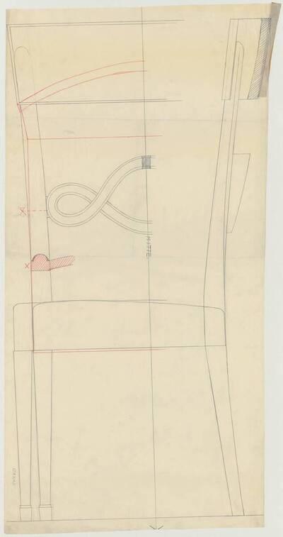 Detailplan mit verschiedenen Ansichten eines Armlehnsessels mit einer Rückenlehne bestehend aus einer in sich verdrehten Querverstrebung (vom Bearbeiter vergebener Titel)