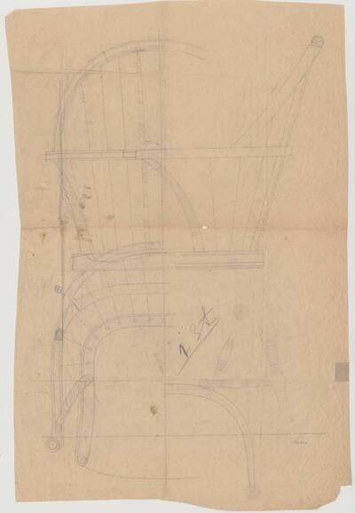 Detailplan mit verschiedenen Ansichten eines Windsorarmlehnsessels mit kunstvoll gedrechselten Füßen und Armlehnen (vom Bearbeiter vergebener Titel)