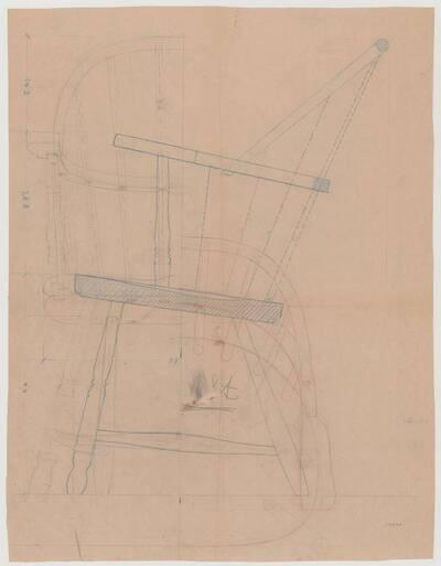 Detailplan mit verschiedenen Ansichten eines Windsorarmlehnsessels (vom Bearbeiter vergebener Titel)