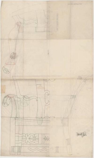 Detailplan mit verschiedenen Ansichten eines Armlehnsessels mit aufwändigen dekorativen Elementen (vom Bearbeiter vergebener Titel)