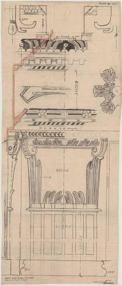 Schnitt durch einen Pilaster und Grundriss des Kapitels (vom Bearbeiter vergebener Titel)