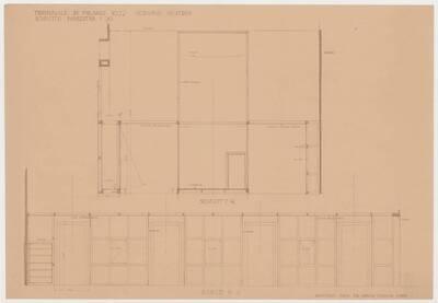Schnitte J-K und P-R für den österreichischen Pavillon auf der Triennale Mailand 1933 (vom Bearbeiter vergebener Titel)