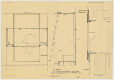 Bauplan für drei Vitrinen für die österreichische Abteilung auf der Triennale in Mailand 1933 (vom Bearbeiter vergebener Titel)