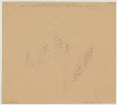 Axonometrische Darstellung des Wohnhausbaus der Gemeinde Wien, Oeverseestraße-Preysinggasse-Löschenkohlgasse-Holochergasse, 1150 Wien (vom Bearbeiter vergebener Titel)