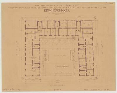 Grundriss des Erdgeschosses für den Wohnhausbau der Gemeinde Wien, Oeverseestraße-Preysinggasse-Löschenkohlgasse-Holochergasse, 1150 Wien (vom Bearbeiter vergebener Titel)