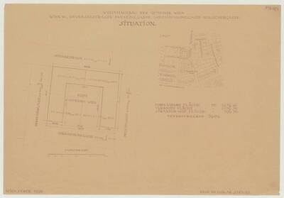 Situationsplan zum Wohnhausbau der Gemeinde Wien, Oeverseestraße-Preysinggasse-Löschenkohlgasse-Holochergasse, 1150 Wien (vom Bearbeiter vergebener Titel)