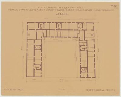 Grundriss des Kellers für den Wohnhausbau der Gemeinde Wien, Oeverseestraße-Preysinggasse-Löschenkohlgasse-Holochergasse, 1150 Wien (vom Bearbeiter vergebener Titel)
