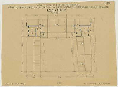 Grundriss des 1., 2. und 3. Stocks für den Wohnhausbau der Gemeinde Wien, Oeverseestraße-Preysinggasse-Löschenkohlgasse-Holochergasse, 1150 Wien (vom Bearbeiter vergebener Titel)