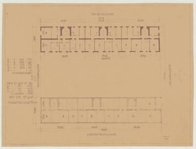 Grundrissvariante des Kellers für den Wohnhausbau der Gemeinde Wien, Oeverseestraße-Preysinggasse-Löschenkohlgasse-Holochergasse, 1150 Wien (vom Bearbeiter vergebener Titel)