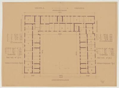 Grundrissvarianten eines Stockwerks für den Wohnhausbau der Gemeinde Wien, Oeverseestraße-Preysinggasse-Löschenkohlgasse-Holochergasse, 1150 Wien (vom Bearbeiter vergebener Titel)