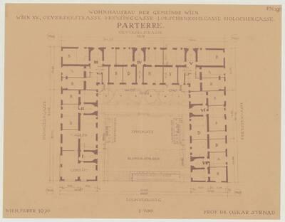 Grundriss des Parterres für den Wohnhausbau der Gemeinde Wien, Oeverseestraße-Preysinggasse-Löschenkohlgasse-Holochergasse, 1150 Wien (vom Bearbeiter vergebener Titel)