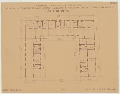 Grundriss des Dachbodens für den Wohnhausbau der Gemeinde Wien, Oeverseestraße-Preysinggasse-Löschenkohlgasse-Holochergasse, 1150 Wien (vom Bearbeiter vergebener Titel)