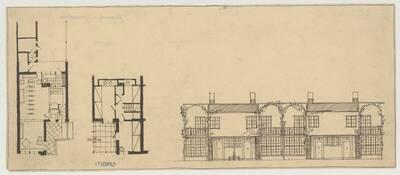 Grundriss und Ansicht für eine Reihenhausanlage mit begrünter Fassade (vom Bearbeiter vergebener Titel)