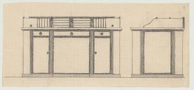 Entwurf für einen Schreibtisch (vom Bearbeiter vergebener Titel)