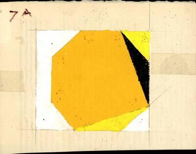 Non-Objective-Art Studie, Orange, Gelb, Schwarz, Weiß, Acryl No.7A (vom Bearbeiter vergebener Titel)