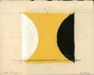 Non-Objective-Art Studie, Gelb, Schwarz, Weiß, Acryl No. 8A, Blau (vom Bearbeiter vergebener Titel)