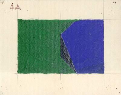 Non-Objective-Art Studie, Grün, Schwarz, Blau (vom Bearbeiter vergebener Titel)