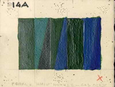 Non-Objective-Art Studie, Grün, Blau, Schwarz (vom Bearbeiter vergebener Titel)