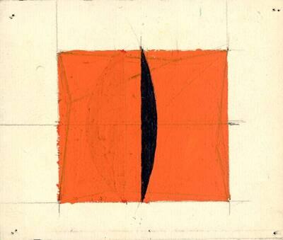 Non-Objective-Art Studie, Orange, Schwarz (vom Bearbeiter vergebener Titel)