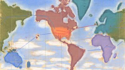 Entwurf für die Weltkarte in der Schalterhalle der Pan American Route (Originaltitel)