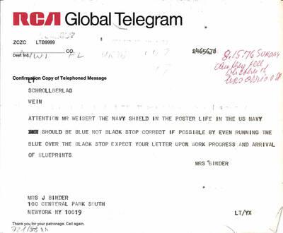Telegramm an den Verlag