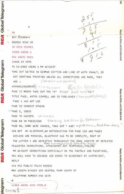 Telegramm an Herrn Weisert (vom Bearbeiter vergebener Titel)