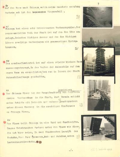 Text für den Vortrag Joseph Binders über seine Erfahrungen in den USA zwischen 1933 und 1935 im Österreichischen Museum für angewandte Kunst, Wien am 18.12.1935 während der Weihnachtsausstellung des Neuen Österreichischen Werkbundes (vom Bearbeiter vergebener Titel)