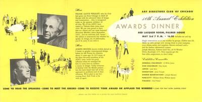Werbefolder zum Vortrag Frank Lloyd Wrights und Joseph Binders beim