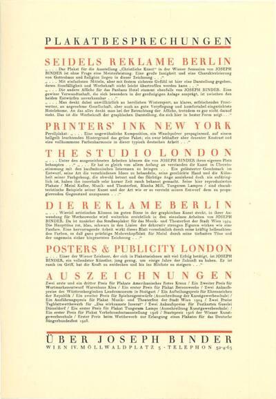 Werbeblatt mit Angaben zu Plakatbesprechungen und Auszeichnungen Joseph Binders (vom Bearbeiter vergebener Titel)