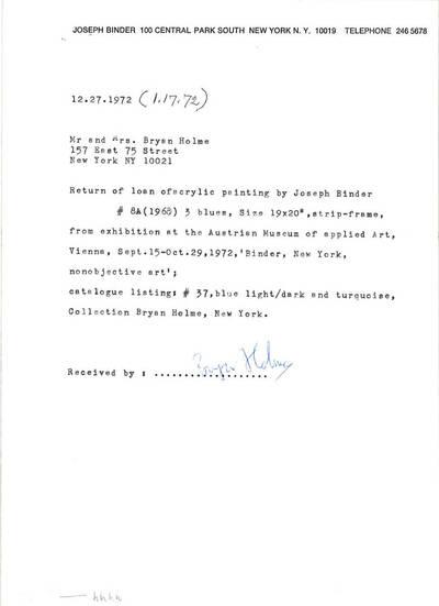 Rückgabebestätigung für Acrylic No. 8A, 3 Blues, 1968 als Leihgabe für die Ausstellung