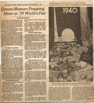 Zeitungsartikel mit einer Ankündigung einer Ausstellung über die New York World's Fair 1939 im Queens Museum (vom Bearbeiter vergebener Titel)