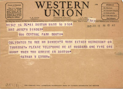 Telegramm von Nathan Edson (vom Bearbeiter vergebener Titel)