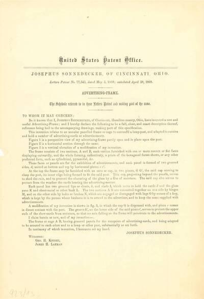 Unterlagen zum Bendsign Patent No. 2,129,399 (Originaltitel)