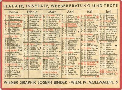 Kalender 1931; Plakate, Inserate, Werbeberatung und Texte, Packungen, Kataloge, Schaufenster, Messestände; Wiener Graphik, Joseph Binder ... (vom Bearbeiter vergebener Titel)