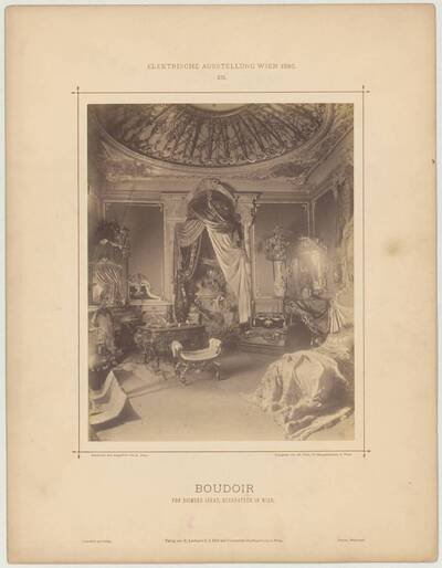 "Photograph of a ""Boudoir"" at the electric exhibition in Vienna in 1883, designed and executed by Sigmund Járay (vom Bearbeiter vergebener Titel)"