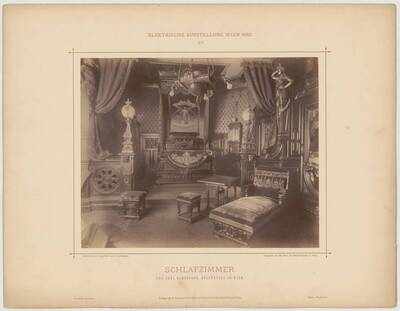 "Photograph of a ""Schlafzimmer"" [Bedroom] at the electric exhibition in Vienna in 1883, designed and executed by Carl Bamberger (vom Bearbeiter vergebener Titel)"