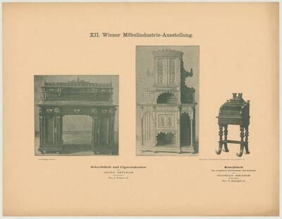 Abbildung eines Schreibtischs und eines Cigarrenkastens von Adolf Spitzer und eines Rauchtischs von Florian Mrasek, ausgestellt auf der XII. Wiener Möbelindustrie-Ausstellung 1895 (vom Bearbeiter vergebener Titel)