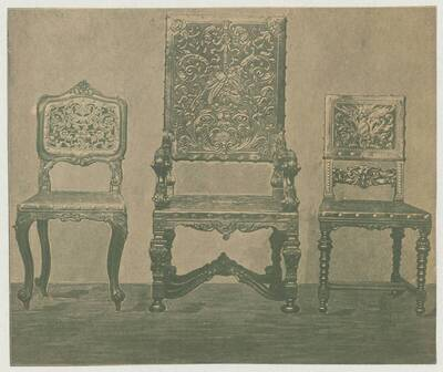 Illustration of three armchairs in various styles, exhibited at the 12th Viennese furniture industry exhibition in 1895 (vom Bearbeiter vergebener Titel)